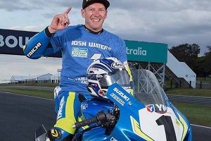 Josh Waters celebrating 2017 australian superbike championship win at phillip island