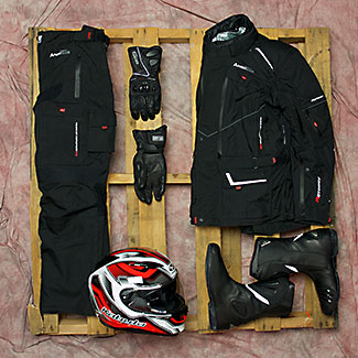 kabuto helmet motodry pants gloves jacket boots moto national flat lay