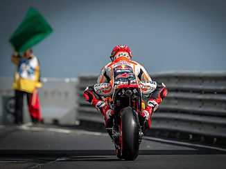 marc marquez riding out of pit lane at Phillip Island MotoGP