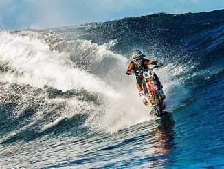 robbie maddison riding his waterbike in tahiti's teahupoo