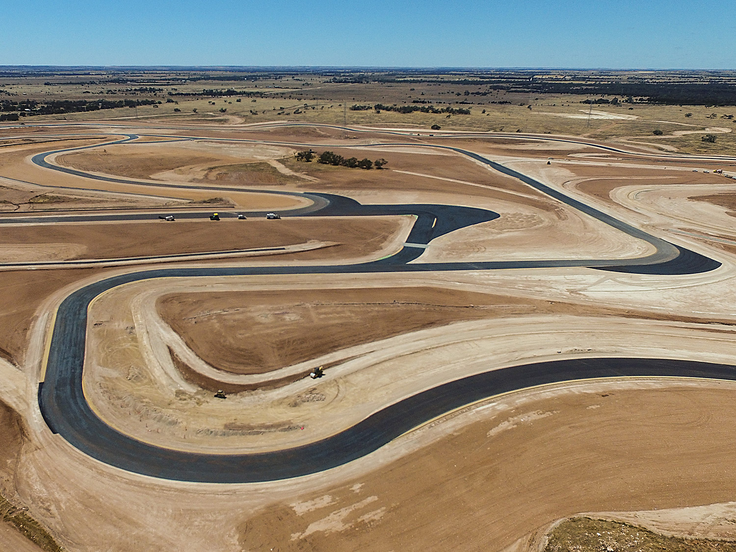 The Bend Motorsport Park drone circuit layout asphalt laid