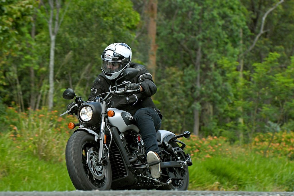 indian scout bobber launch action front three quarter left