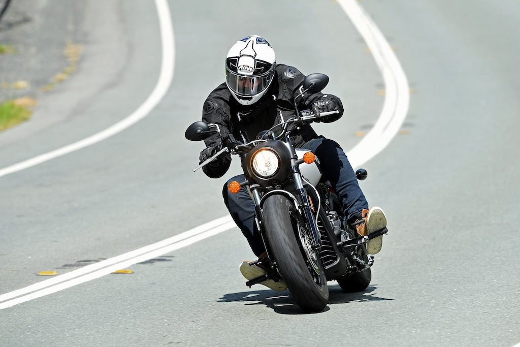 indian scout bobber launch action head on