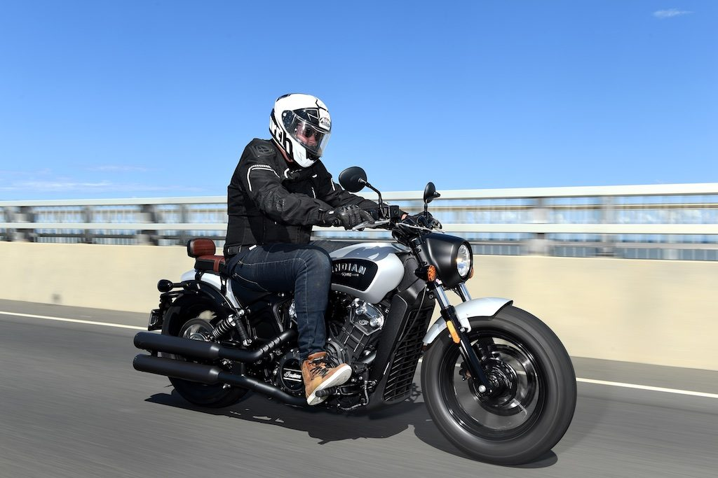 indian scout bobber launch tracking action front three quarter right