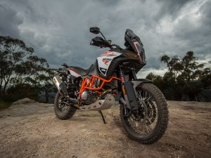 KTM 1290 super adventure blue mountaints static wide angle front three quarter dual sport