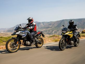 2018 BMW F 750 GS F 850 GS unveiled front three quarter tracking action left