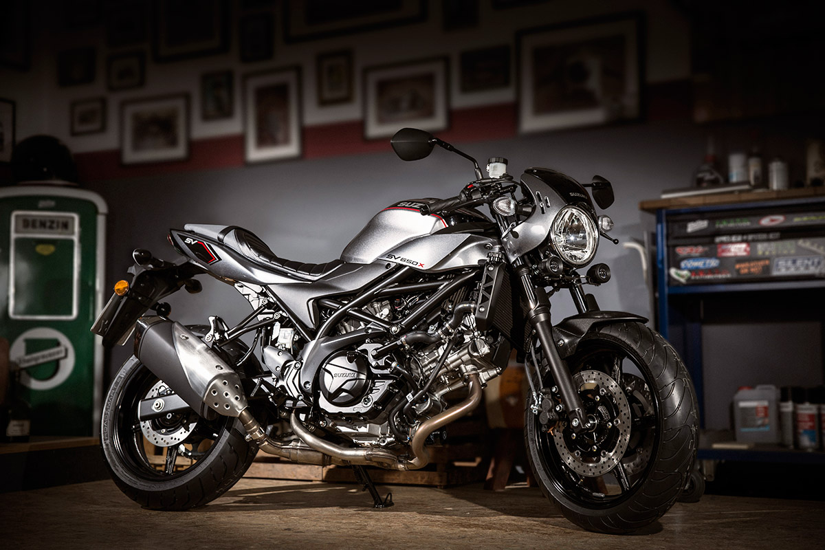 2018 Suzuki SV650X unveiled static side on garage right