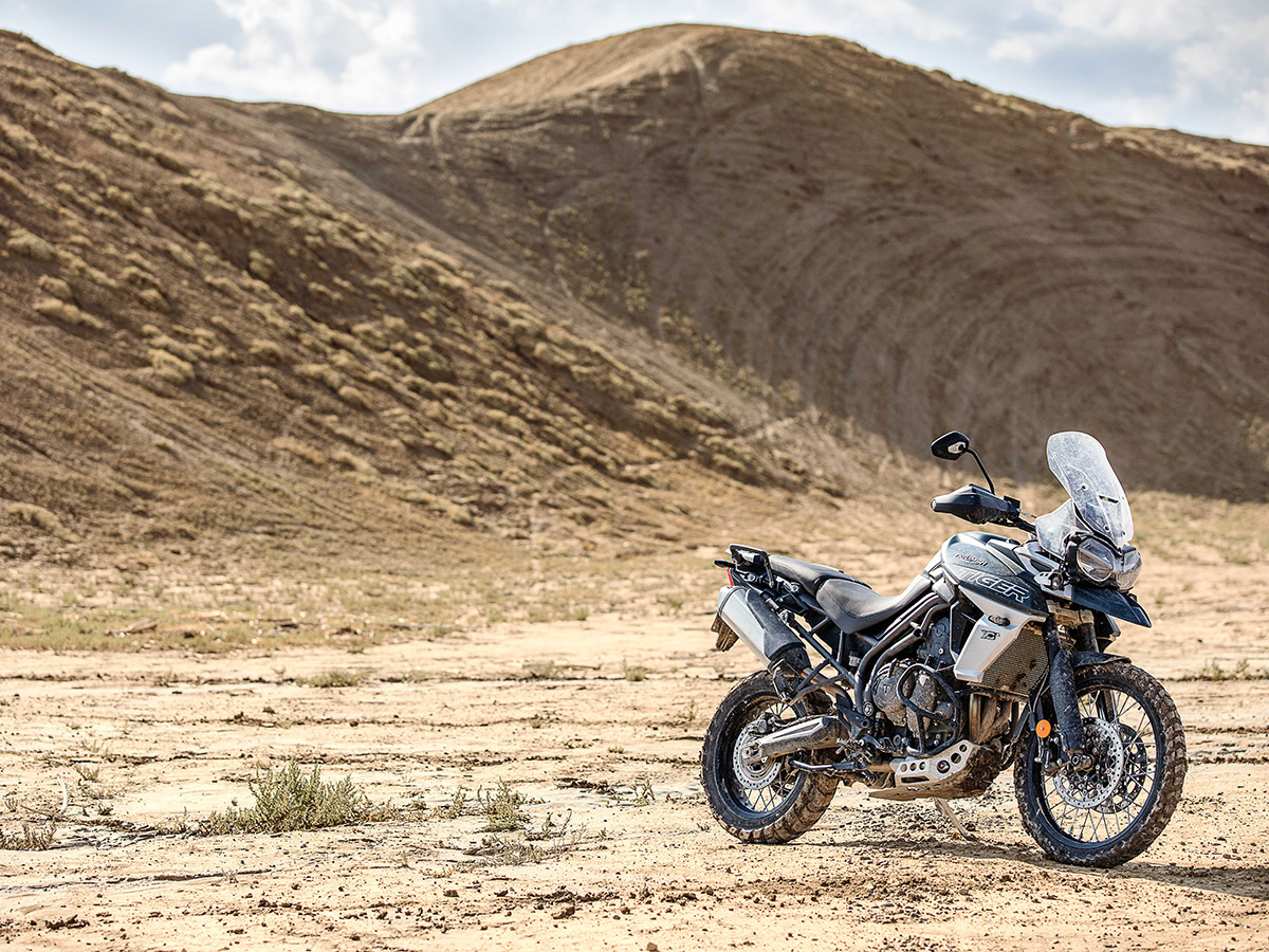 2018 Triumph tiger 800 unveiled XCA static front three quarter desert