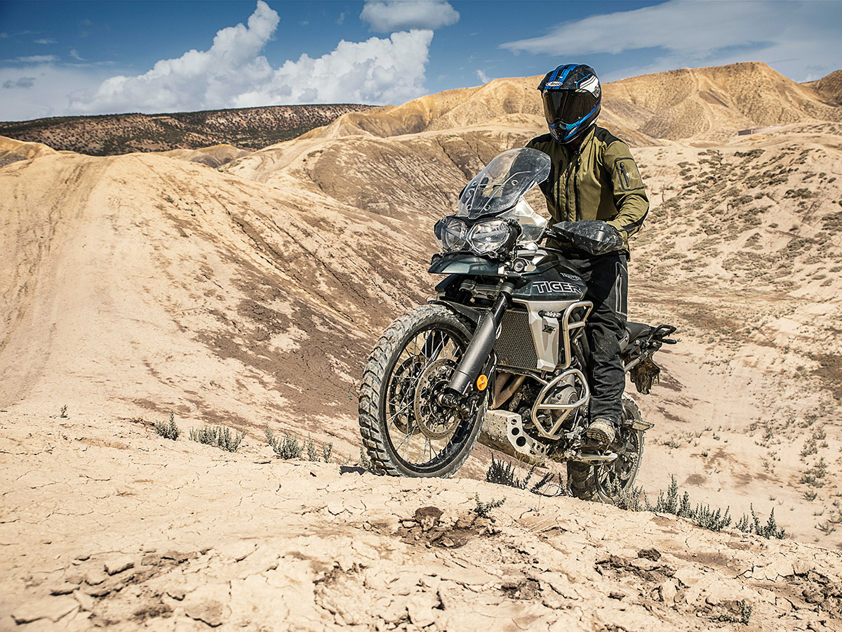 2018 Triumph tiger 800 unveiled XCA action front three quarter desert sand