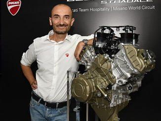 Claudio Domenicali unveiling Ducati's Desmosedici Stradale V4 engine