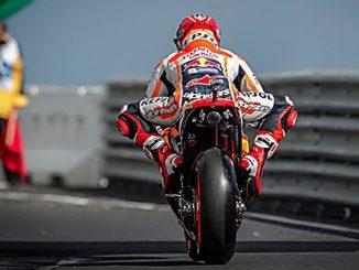 marc marquez riding out of pit lane at Phillip Island MotoGP